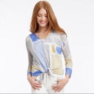 Nic+Zoe Sea Glass Linen Blend Cardigan Sweater